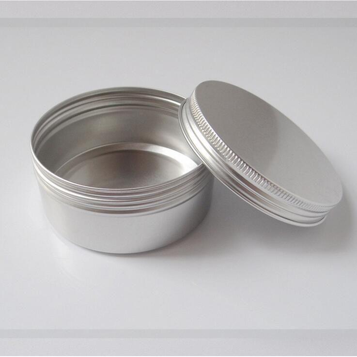 50pcs / lot all'ingrosso 200ml vaso di alluminio contenitore 200g crema vaso metallo rotondo di latta cosmetica imballaggio pomata può cera bottiglia 7 oz