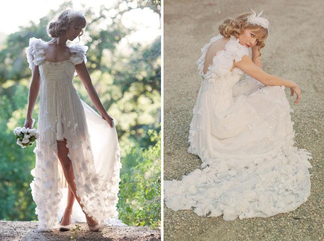 Цветочные свадебные платья в стиле кантри спагетти Привет-Lo платья для новобрачных часовня поезд блестки и бисером трапеция обратно в молнии оборками