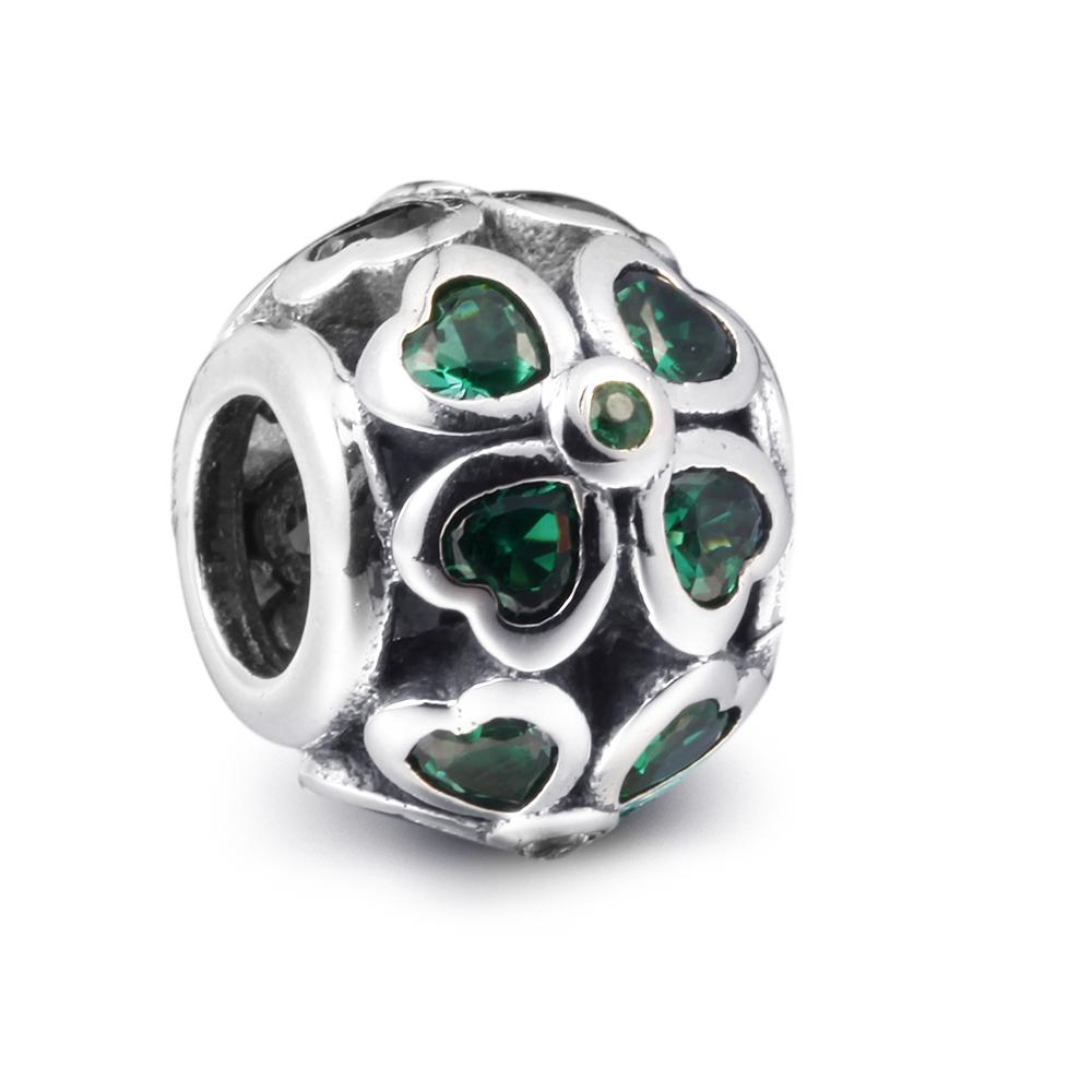 Clover Silver Charm with Dark Green CZ 100% 925 Sterling Silver Beads Fit Pandora Charms Bracelet Authentic DIY Fashion Jewelry