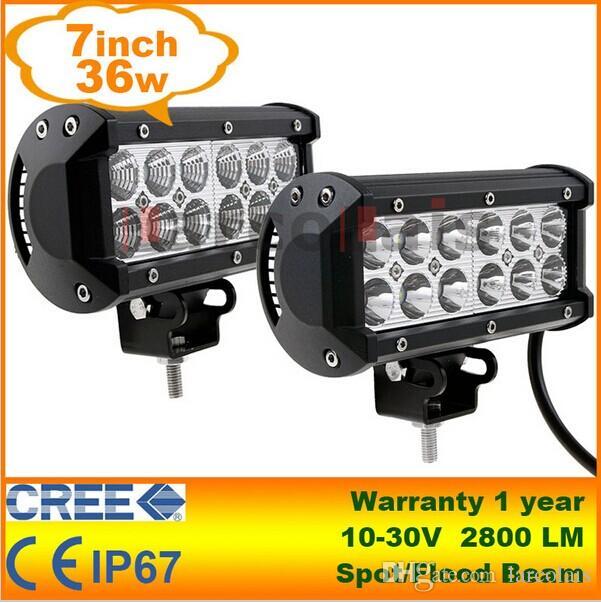 2pcs 7INCH 36W SPOT LED WORK LIGHT BAR OFFROAD ATV FOG TRUCK  LAMP SUV 4WD 12V