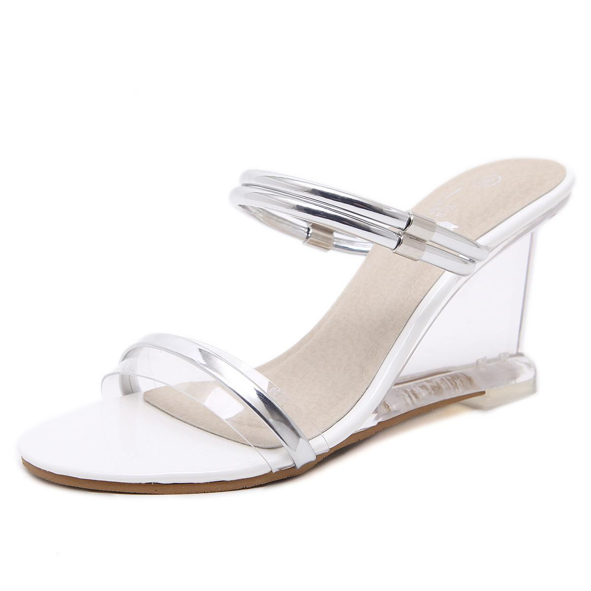 Fashion Summer Women Sandals Peep Toe 8.5cm Wedge Heels Crystal Transparent Women Sandals Size 34-40