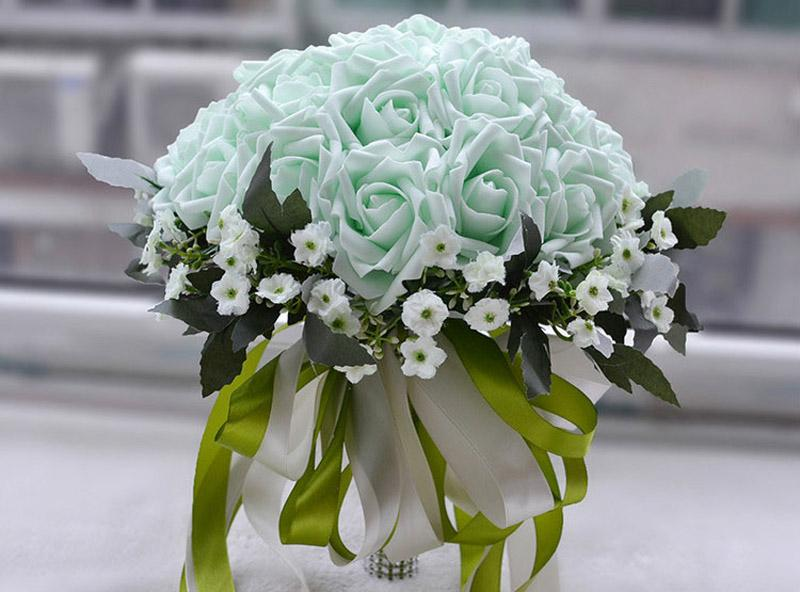 Mint White Cream Cheap Bridal Wedding Bouquets Artificial Bridesmaid Beach Country Rustic Bridal Party Favors Large Ball Hand Hold Flowers
