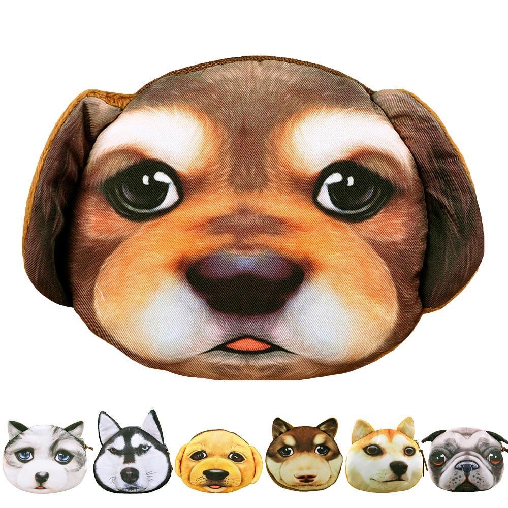 2015 New Girls Cute Dog Face Zipper Coin Purse Money Pouch Women Mini Makeup Storage Organizer Small Clutch Bag Monederos Mujer