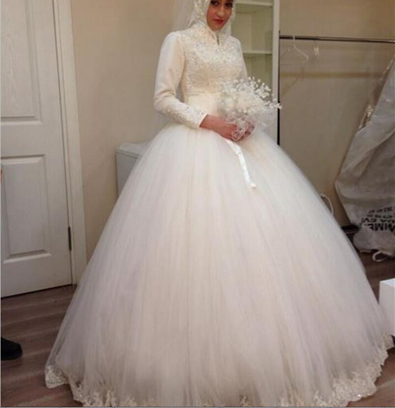 Vestidos de Novia Lace Ball Gown Muslim Wedding Dress with Hijab 2018 Long Sleeves High Neck Appliques Court Train Bridal Dresses Gowns