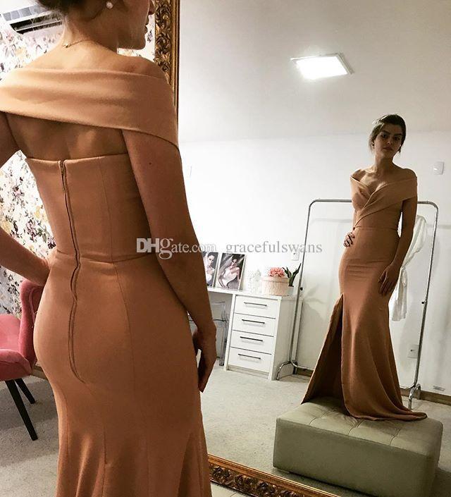Sevgiliye Kapalı Omuz Gelinlik Modelleri Uzun Basit Zarif Saten Düğün Konuk Elbiseleri Bacak Yarık Balo Parti Elbiseler Aç Geri