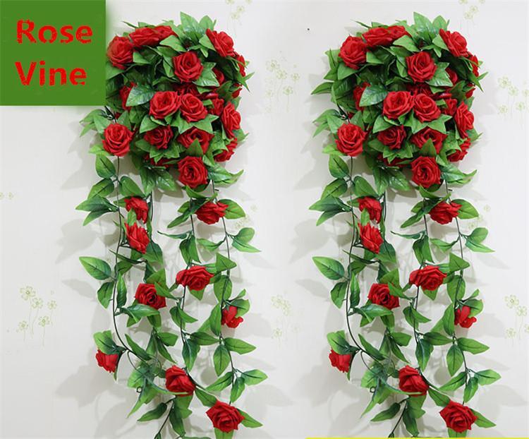 結婚式の装飾新しい人工絹のバラの花のつるのぶら下がっているガーランドのウェディングホームウォールパーティーの装飾10個/ロット送料無料