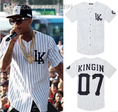 Atacado-KNYEW 07 DXPECHEF Branco listra Jersey Último Rei LK Hip Hop MenMulheres Casais Camisas de Algodão Esportes Tees Plus Size M-XXL