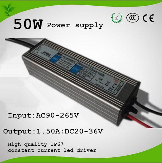 امدادات الطاقة ل 50 واط intergated تنمو رقاقة ضوء ، 50 واط امدادات الطاقة. 1500MA. DC20-36V ، IP67 للماء الشحن المجاني