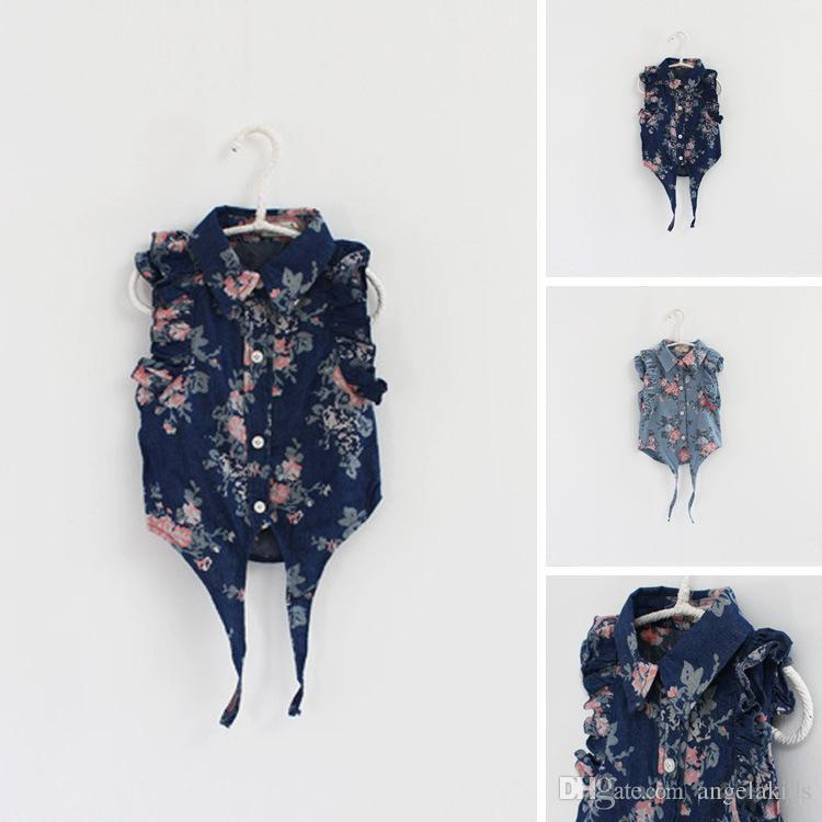 Jean Shirt Hot Summer Little Girls Suits Flower Printing With Hat Fashion V Neck High Quality Sleeveless Children Clothes