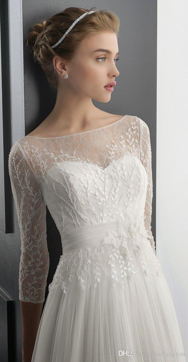 Cheap Hot Bridal Wraps Jackets Scoop Sheer Lace Applique Shawl Coats 3/4 Long Sleeve Bridal Accessories White Ivory For Wedding Dress