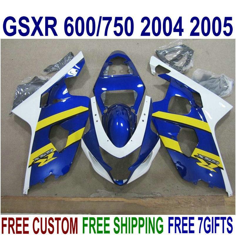 Peças de motobike Platic para SUZUKI GSXR600 GSXR750 2004 2005 kit de carenagem K4 GSXR600 / 750 04 05 carenagem de amarelo branco azul carenagens R10J