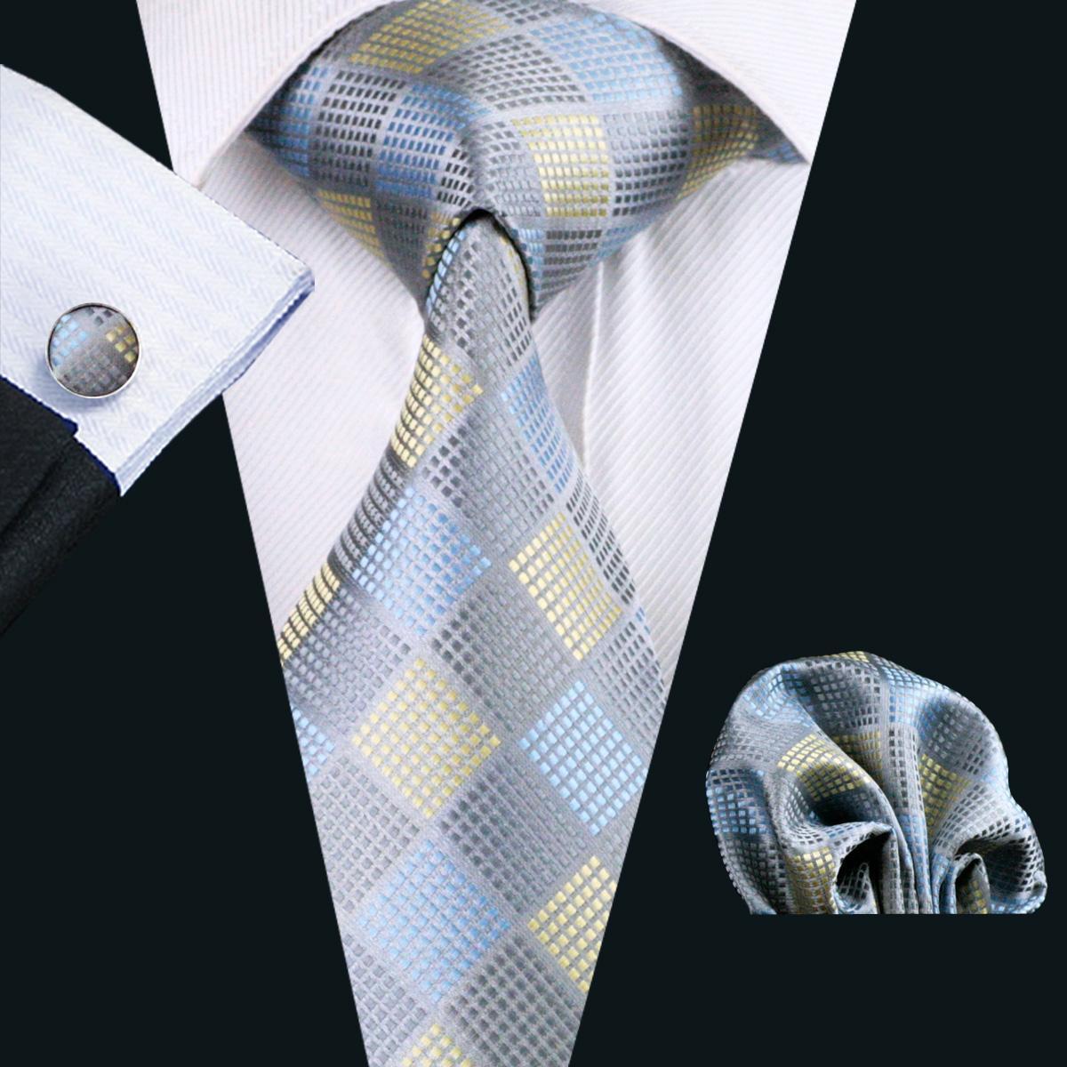 남성용 회색 넥타이 Hanky Cufflinks Yellow Blue Mix 컬러 자카드 직물 비즈니스 넥타이 8.5cm 캐주얼 N-1025 세트