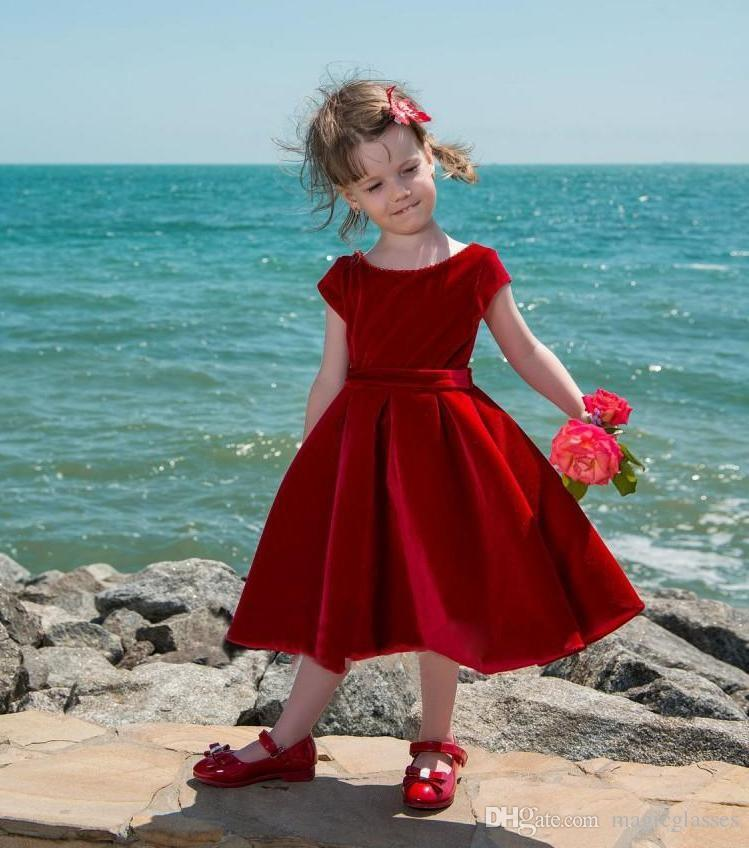 13a3a2702 ... Cute Red Velvet Flower Girl Dress Tea-Length Baby Girls Pageant Dresses  Toddler Kids Party ...