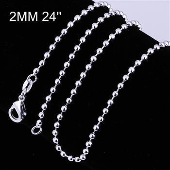 Bolas de 2 mm para mujer cadenas 16 '' 18 '' 20 '' 22 '' 24 '' Encantos de corte largo y corto collares 925 plata de ley c002