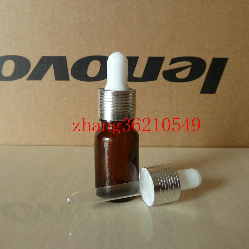 브라운 / 앰버 유리 에센셜 오일 병 10ml 알루미늄 광택있는 실버 스포이드 캡. 오일 바이알, 에센셜 오일 용기