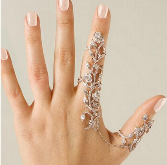 New fashion accessories jewelry chain link full rhinestone rose flower double finger ring for women girl nice gift EH282