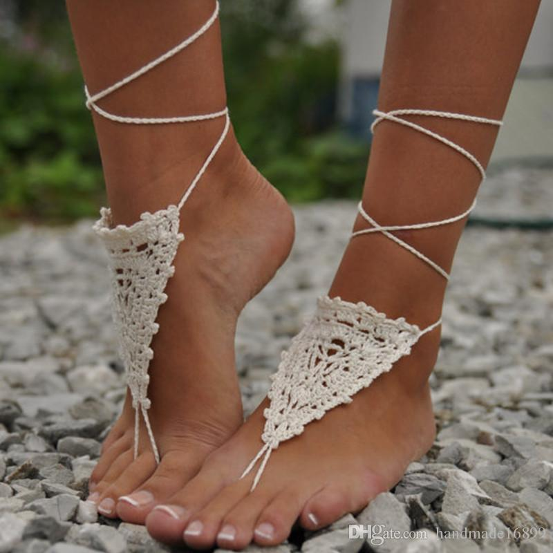 1 Pair OR 2 PCS Womens Crochet Ivory Barefoot Sandals, Nude shoes, Wedding Sandals, Victorian Lace, Sexy, Yoga, Shoes