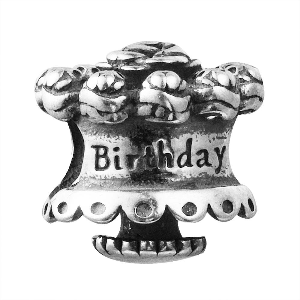Birthday Cake 100% 925 Sterling Silver Beads Fit Pandora Charms Bracelet Authentic DIY Fashion Jewelry