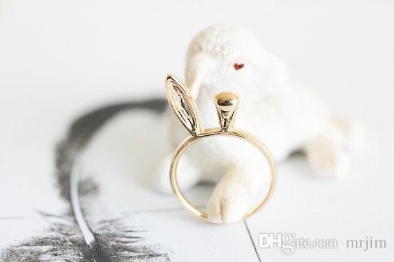 Art und Weisekaninchenohr schellt 18K Gold überzogene / versilbert reizende Ringe der Frauen Nette Häschenringe mischen Farbe
