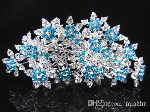 Gorgeous Snowflake Hair Jewelry Girl Bridal Wedding Prom Blue Crystal Rhinestone Hair Pins Cosplay jewelry Hair Accessories Free Shipping
