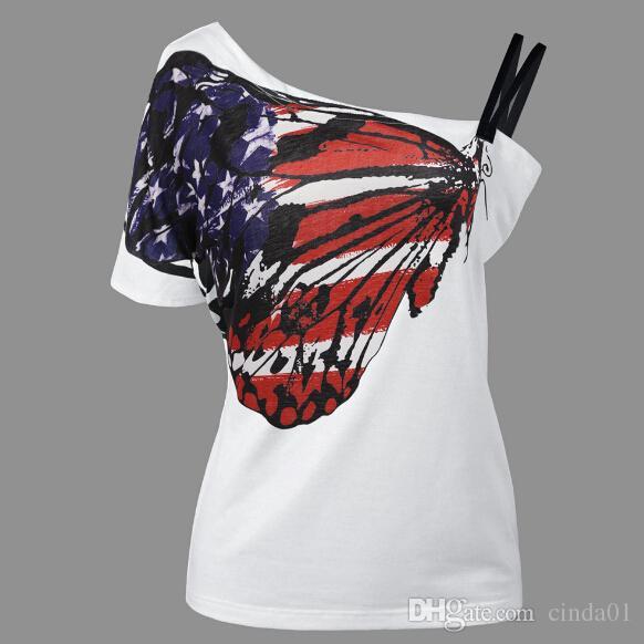 Бабочка печатных женщин сексуальные футболки с плеча одно плечо топы с коротким рукавом тройники летняя одежда плюс размер одежды 4XL 5XL