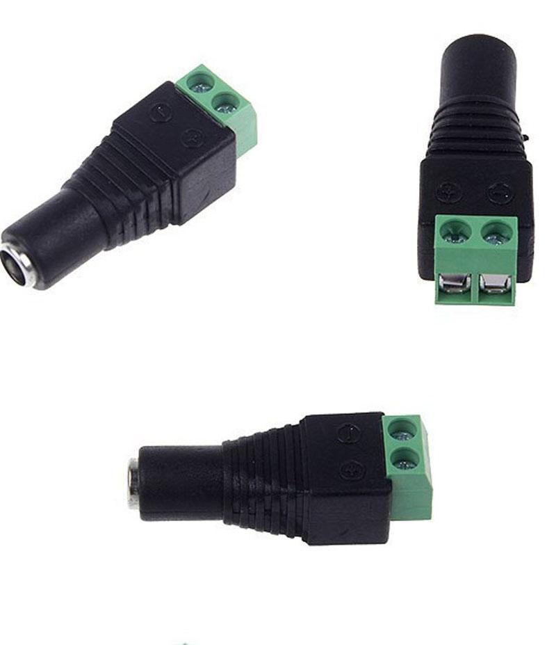 1 paire femelle + connecteurs mâles mâles 5.5x2.1mm pour 5050/3528 LED bande de couleur