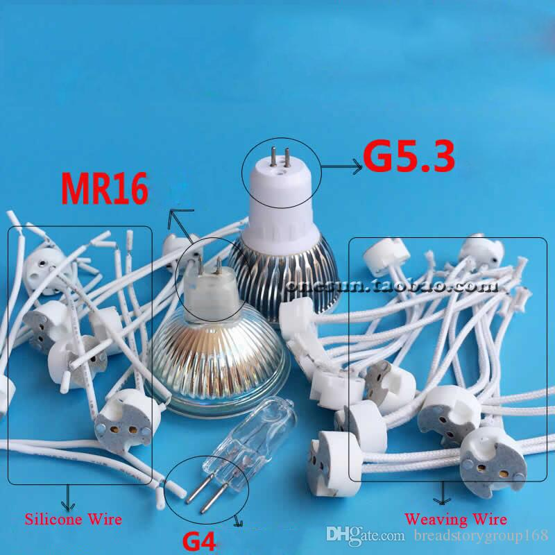 G5.3 GU5.3 Ceramic Lamp Holder MR16 Spotlight Lamp Socket G4 Halogen Lamp Base Silicone Wire Woven Silicone Wire Optional