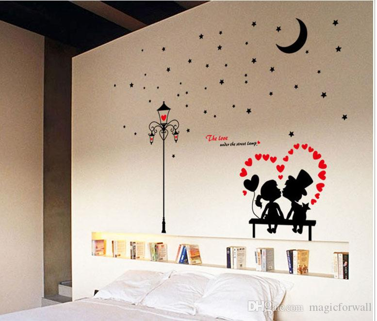 The Love Under The Street Lamp Wall Art Mural Decor Sticker Living Room  Bedroom Romantic Wall Quote Decal Poster DIY Home Wall Applique Wall Art ...