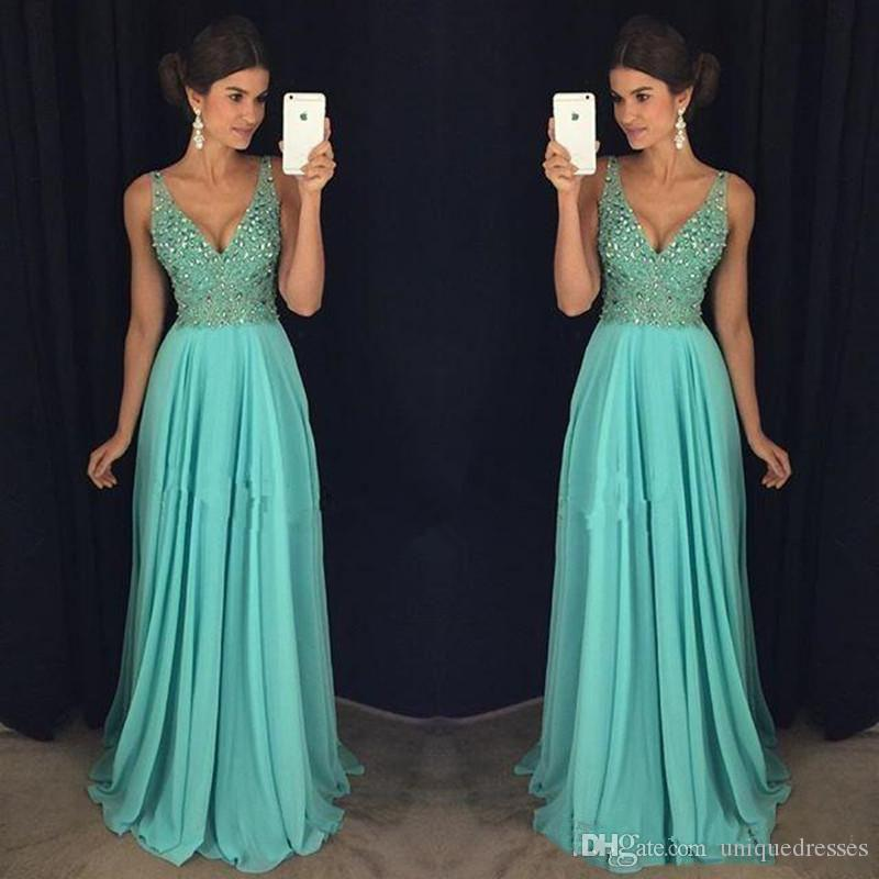 Sexy Deep V Neck Prom Dresses Crystals Beaded Sweep Train A Line Chiffon Evening Party Long Formal Gowns
