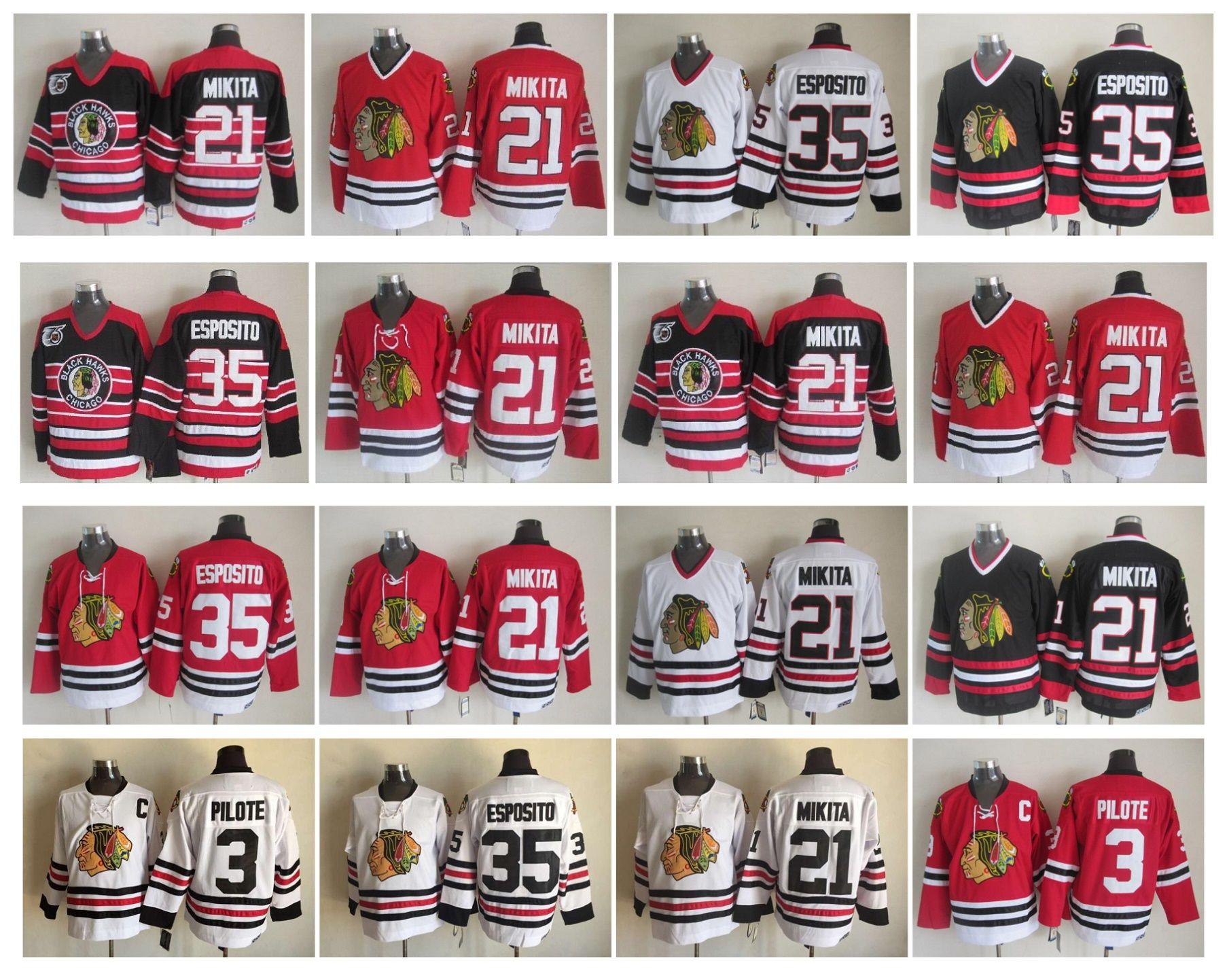 Camisola de hóquei de Chicago Blackhawks 21 Stan Mikita 3 Pierre Pilote 35 Camisas de 100% costuradas de CCM 100 autêntico Tony Esposito Vintage