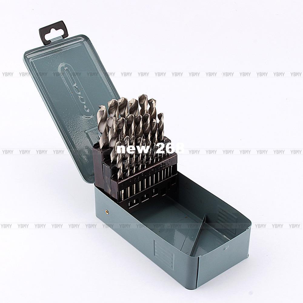 25 조각 HSS 고속 강철 금속 드릴 비트 세트 공구 1 - 13 mm 케이스