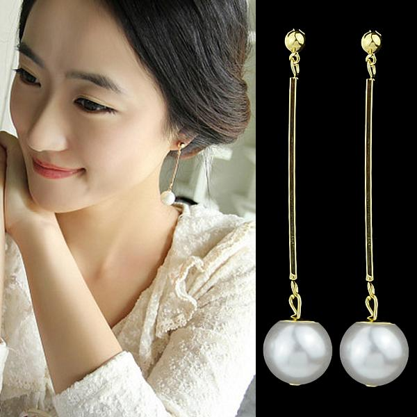 discount turkish jewelry gold color plated alloy concise long created pearl dangle earring for women wedding gift from china dhgate com