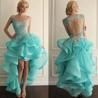 Gorgeous Ivory Blue Beaded Lace High Low Prom Dresses 2015 Sheer Back Ruffles Organza Short Front Long Back Party Dresses