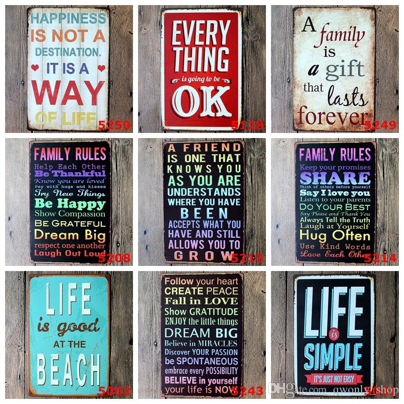 Metal Wall Art Vintage Home Decor Life Quote Metal Tin Sign House Decoration Size 20x30cm Sticker Wall Art Decals Sticker Wall Art Quotes From
