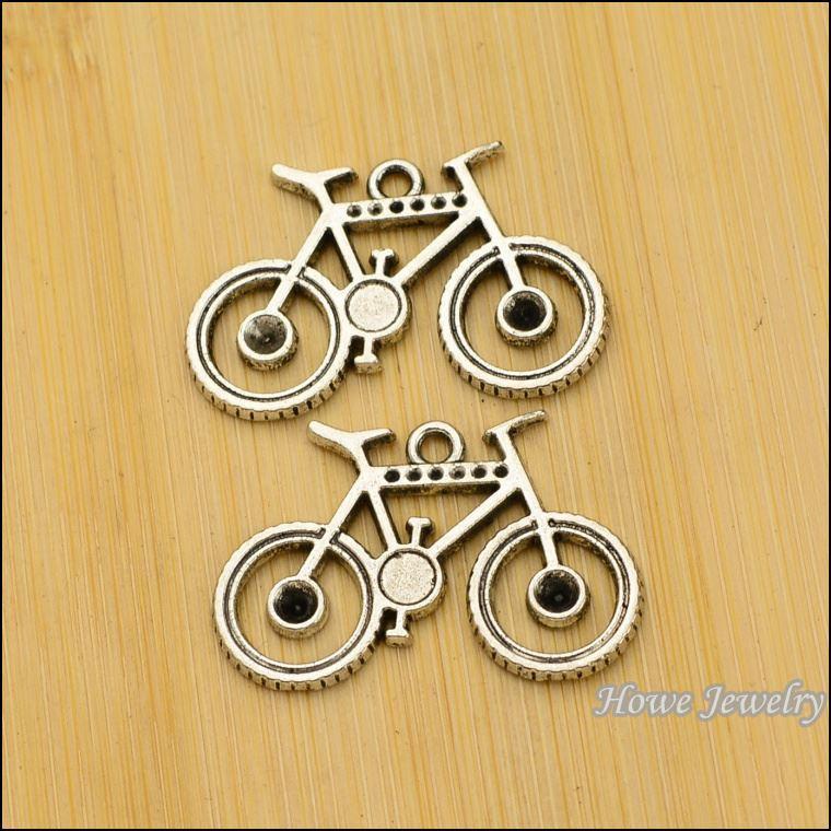 30 pcs Vintage Charms Bicycle Pendant Antique silver Fit Bracelets Necklace DIY Metal Jewelry Making