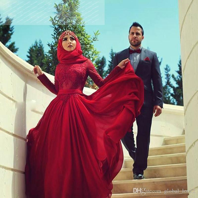 New Romantic Muslim Evening Dresses Long Sleeve Prom Dress Lace ...