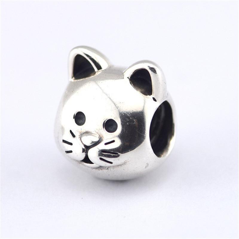Sterling-Silver Pet Beads Fit Pandora Bracelets Sterling Silver Animal Cat Charm Beads Fits Pandora DIY Fine Jewelry Bracelets & Necklaces