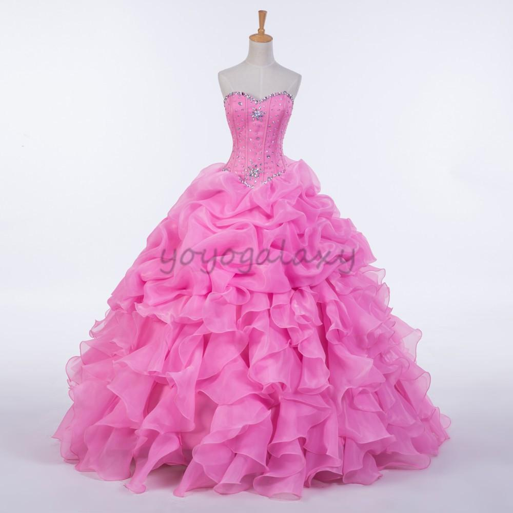 Candy Pink Quinceanera Dresses Beading Strapless Ruffled Ball Gown ...