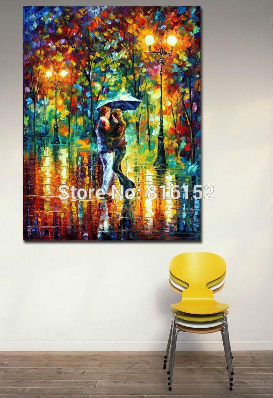 로맨틱 한 연인의 밤 공원 - 현대 100 % Handpainted 유화 캔버스 벽 교수형 호텔 사무실 홈 장식 벽 예술