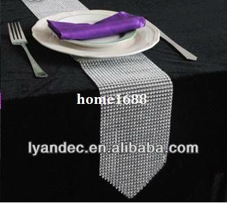 "108"" bling plastic table runner,free shipping sparkle rhinestone wedding table decoration table runner"