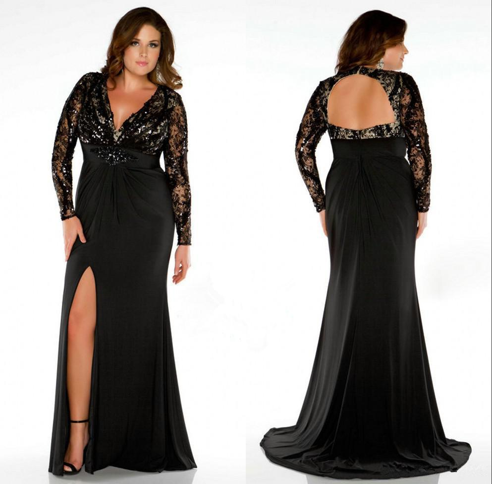 Plus Size Women Prom Evening Gowns Floor Length Deep V Neck Backless Long  Sleeve High Split Mother Of The Bride Formal Dresses 2019 New Dress For  Plus ...