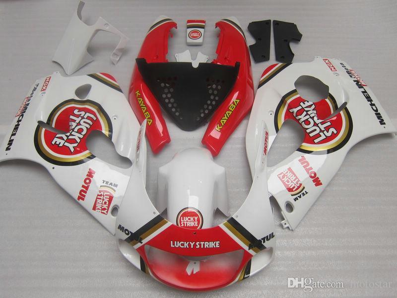Kit complet de carénage en ABS pour SUZUKI GSXR600 GSXR750 1996 1997 1998 1999 2000 GSXR 600 750 96-00 blanc rouge carénage LUCKY STRIKE GB10