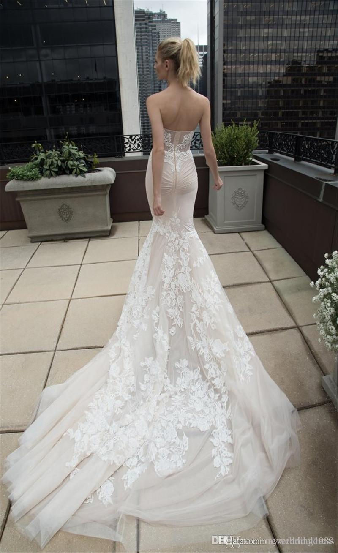 2016 Champagne Beach Lace Wedding Dresses Sweetheart Berta 2015 ...