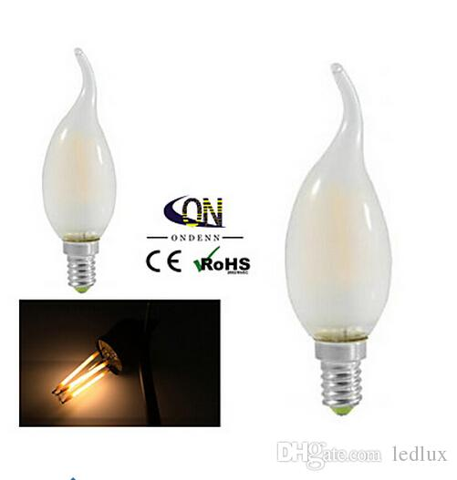30 sztuk / partia Nowy włókno LED Bulb E14 2W 4W żyrandol LED CE RoHS 220 V Filkta świeca Lampy żarówki