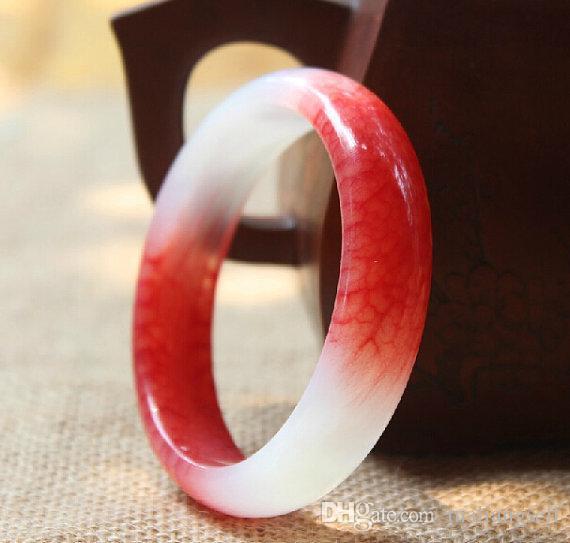 Natural Red and White Jade Charm Bransoletka Ręcznie Polerowany Czerwony Powodzenia Bransoletka Wielkość Custom 58mm-62mm