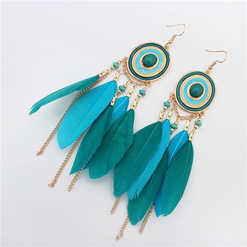 Dream Catcher Clip on Dangle Earrings Turquoise Stone Leaf Feather Dangle Black for Girls Gift