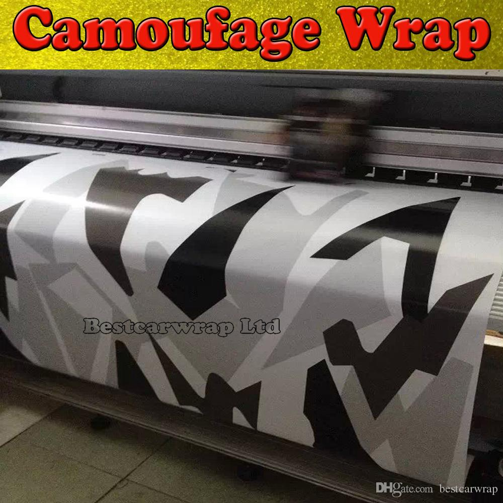 Black white Grey Arctic Camouflage / Camo Vinyl For Car Wrap Pixel Camo Sticker Film with air release Vehicle graphic Size:1.52 x 30m/Roll
