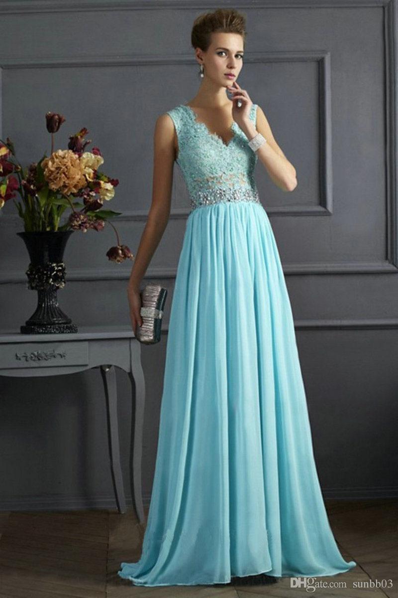 Hot Elegant Women\'S Lace Long Maxi Party Dresses Sleeveless V Neck ...