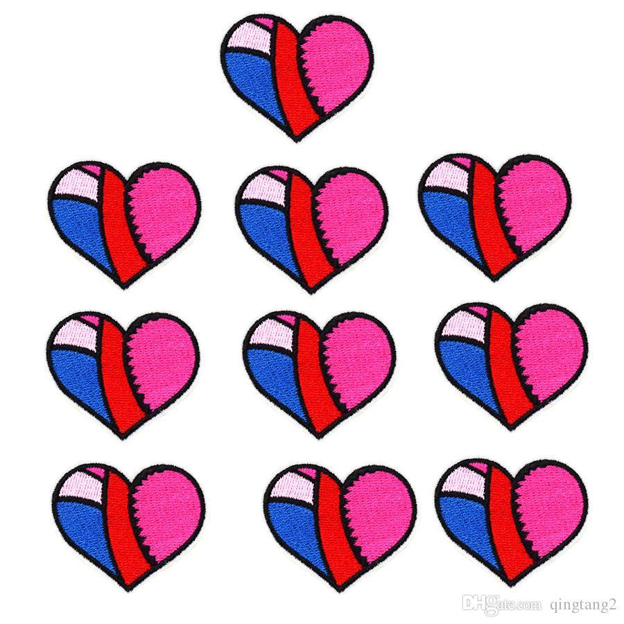 10 STÜCKE Multicolor Herz Patch für Kleidung Taschen Eisen auf Stickerei Patches für Jeans DIY Nähen auf Stickerei abzeichen