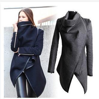 Nowe Damskie Płaszcz Asymetryczne PU Rurociągi Zipper Kieszenie Moda Slim Wełniany Trench Płaszcz Zimowy Kolor Navy Gray Casacos Femininos S-XXL